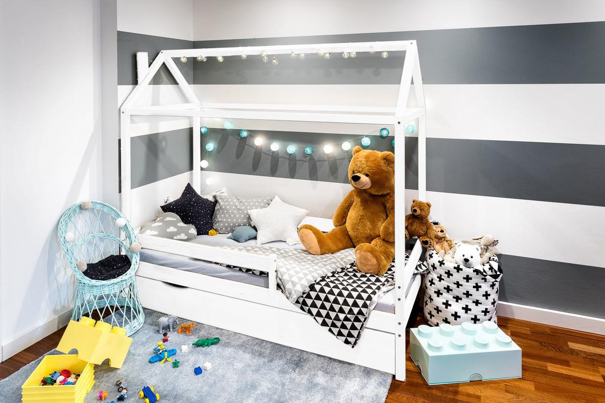 Detská posteľ domček Paul - biela 180x80 cm posteľ bez úložného priestoru