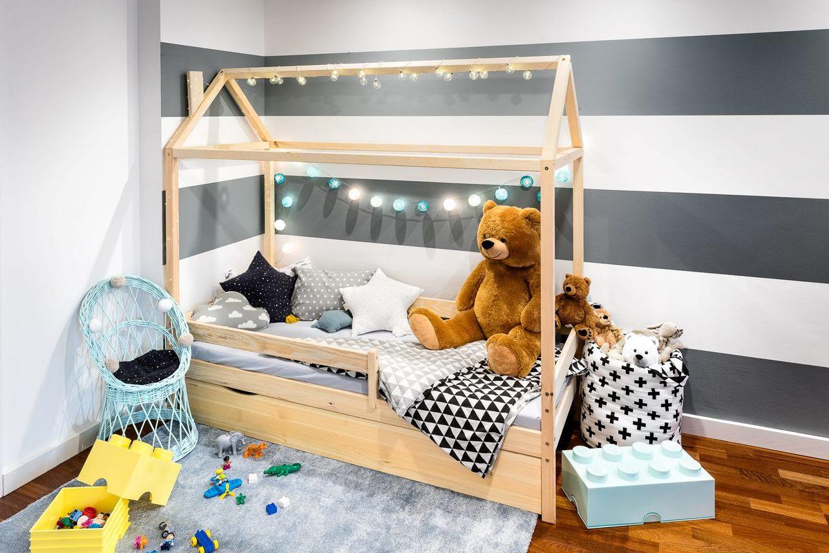 Detská posteľ domček Paul - prírodná 180x80 cm posteľ bez úložného priestoru