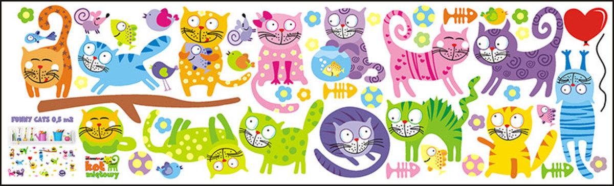 Dekorácia na stenu - Funny Cats 1 m² mačička