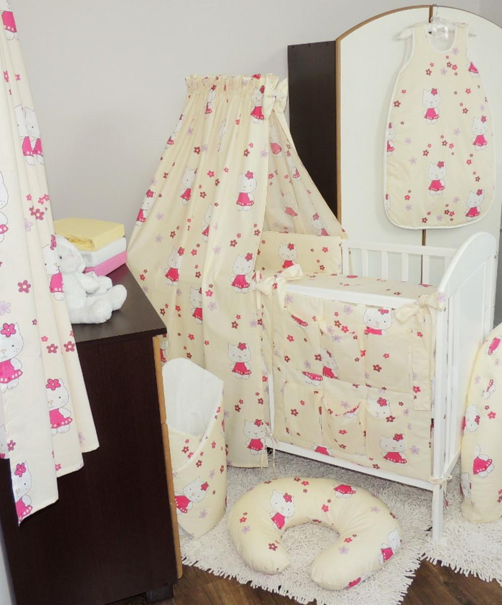 Set - baldachýn s mašľou + zavinovačka - Hello Kitty krémová