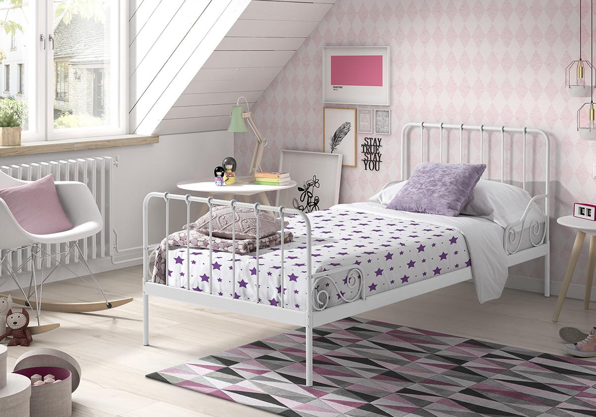 Kovová posteľ Alice - biela