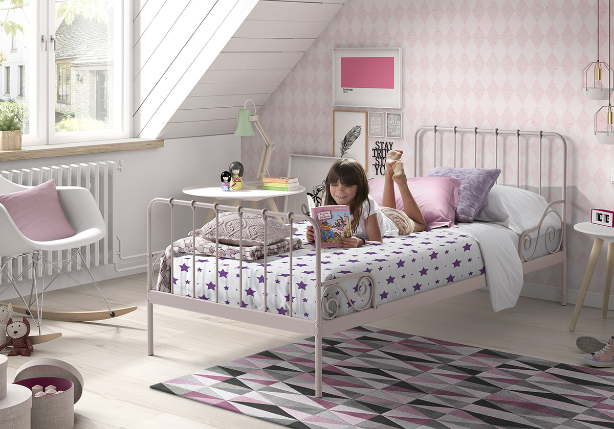 Kovová posteľ Alice - ružová