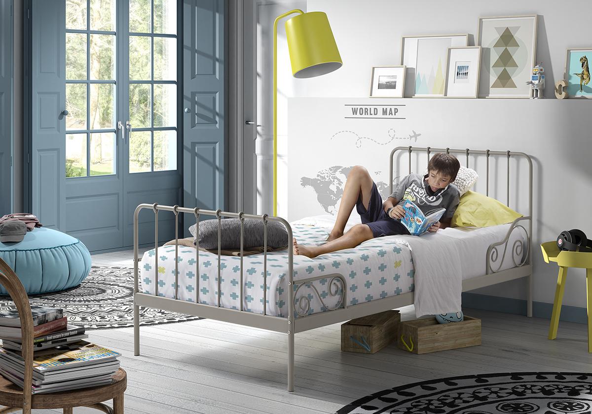 Kovová posteľ Alice - šedá