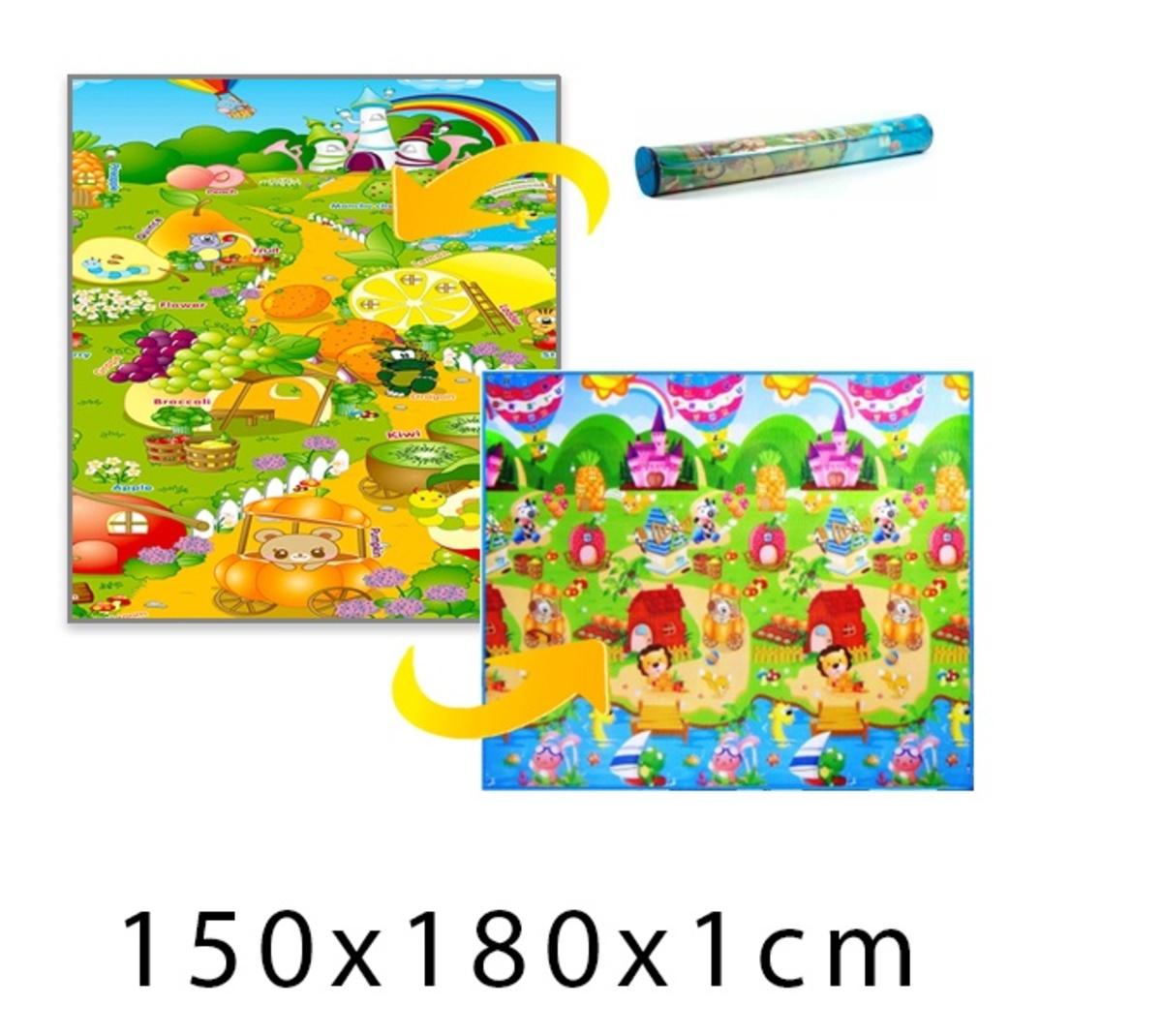 Detský penový koberec - domček leva + ovocný raj
