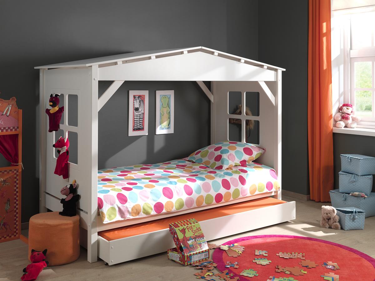 Detská posteľ - domček Pino - biela posteľ bez úložného priestoru