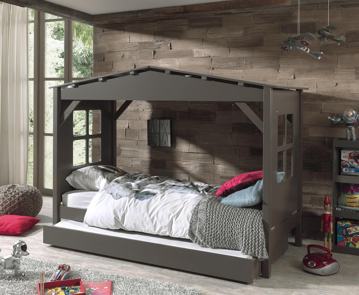 Detská posteľ - domček Pino - sivá posteľ bez úložného priestoru