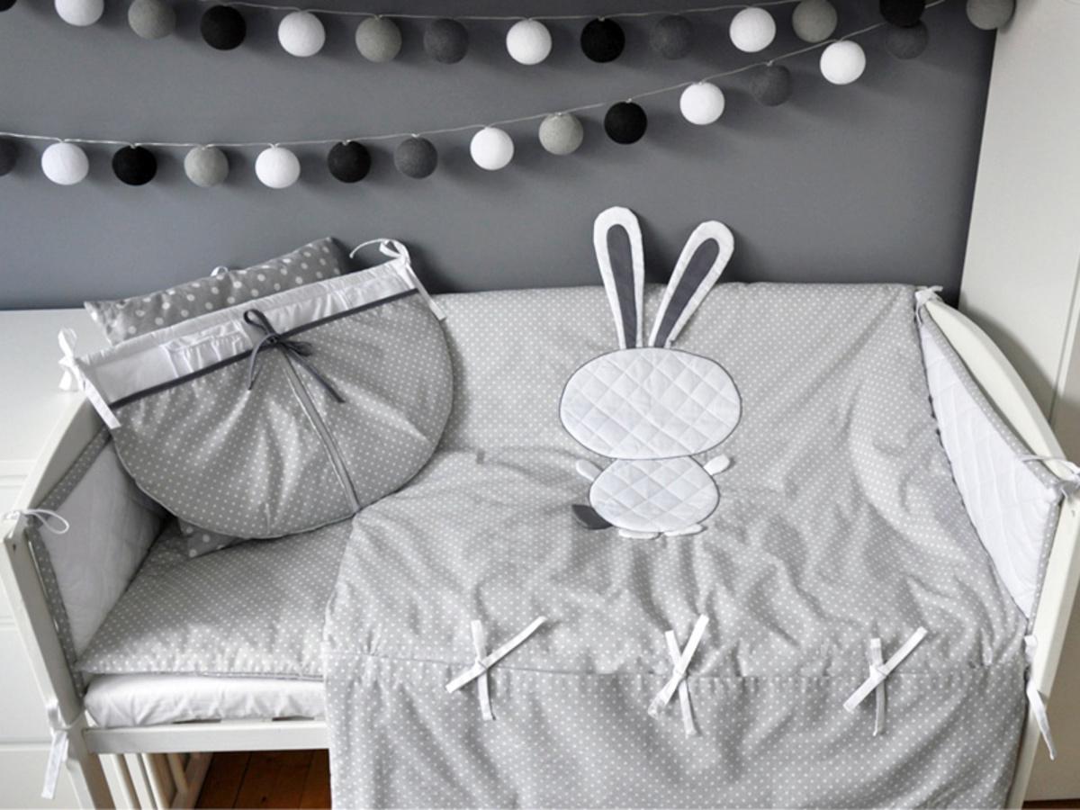 Detské 3-dielne obliečky - zajačik - sivé kôš na hračky 35x35 cm
