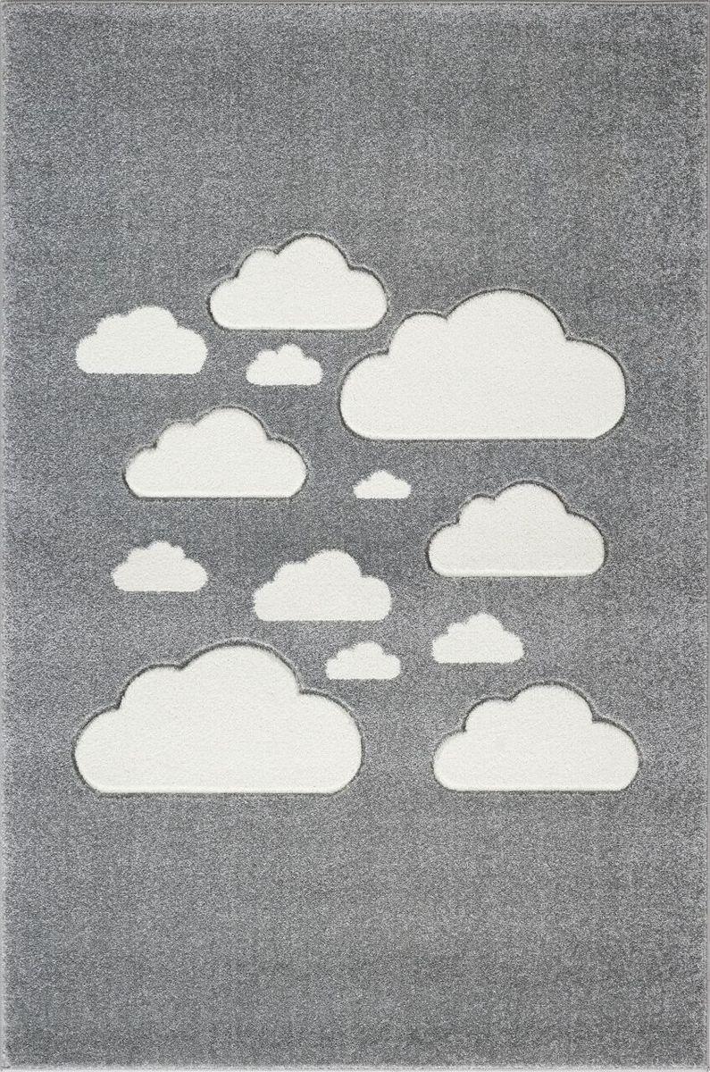 Detský koberec MRAKY - striebornošedý/biely 100 x 150 cm