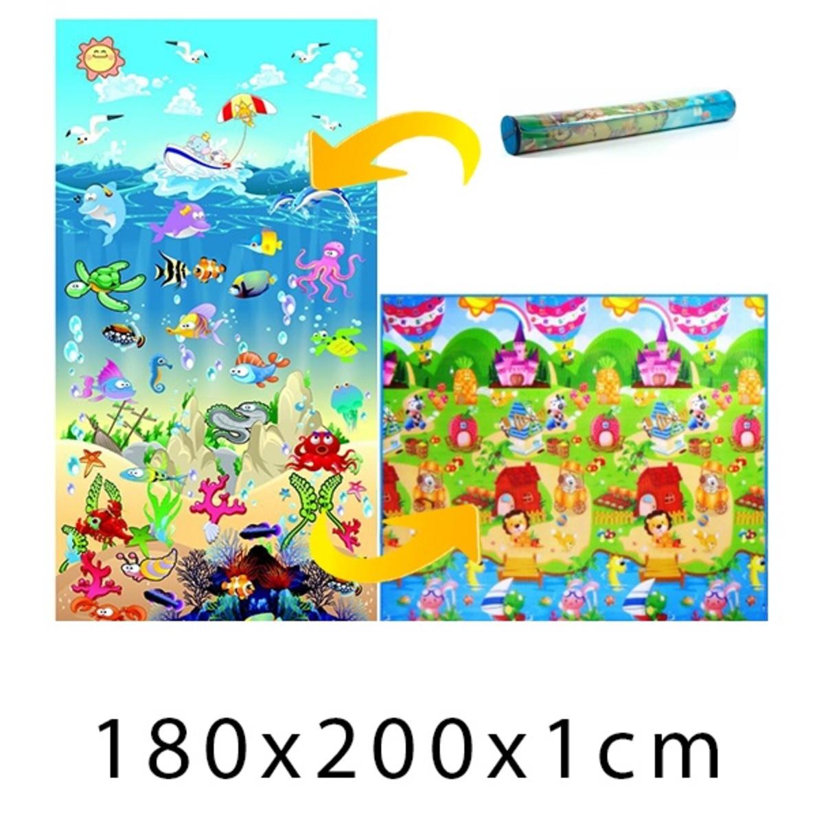 Detský penový koberec - oceán + domček leva - 200x180x1 cm