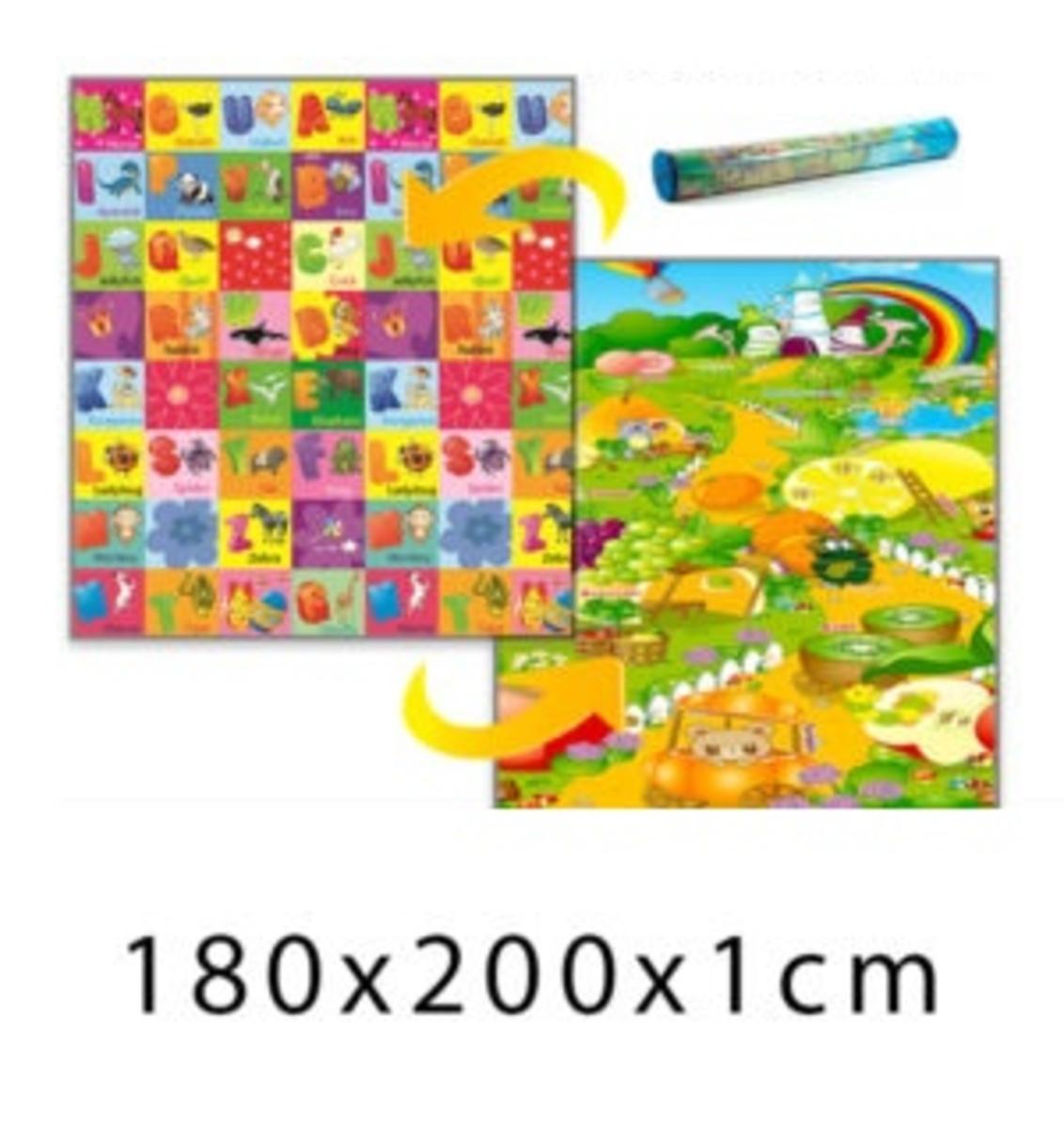 Detský penový koberec - ovocná krajina + ABC - 180x200x1 cm