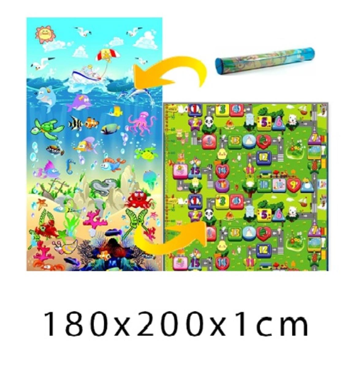 Detský penový koberec - oceán + číselná ulička - 200x180x1 cm