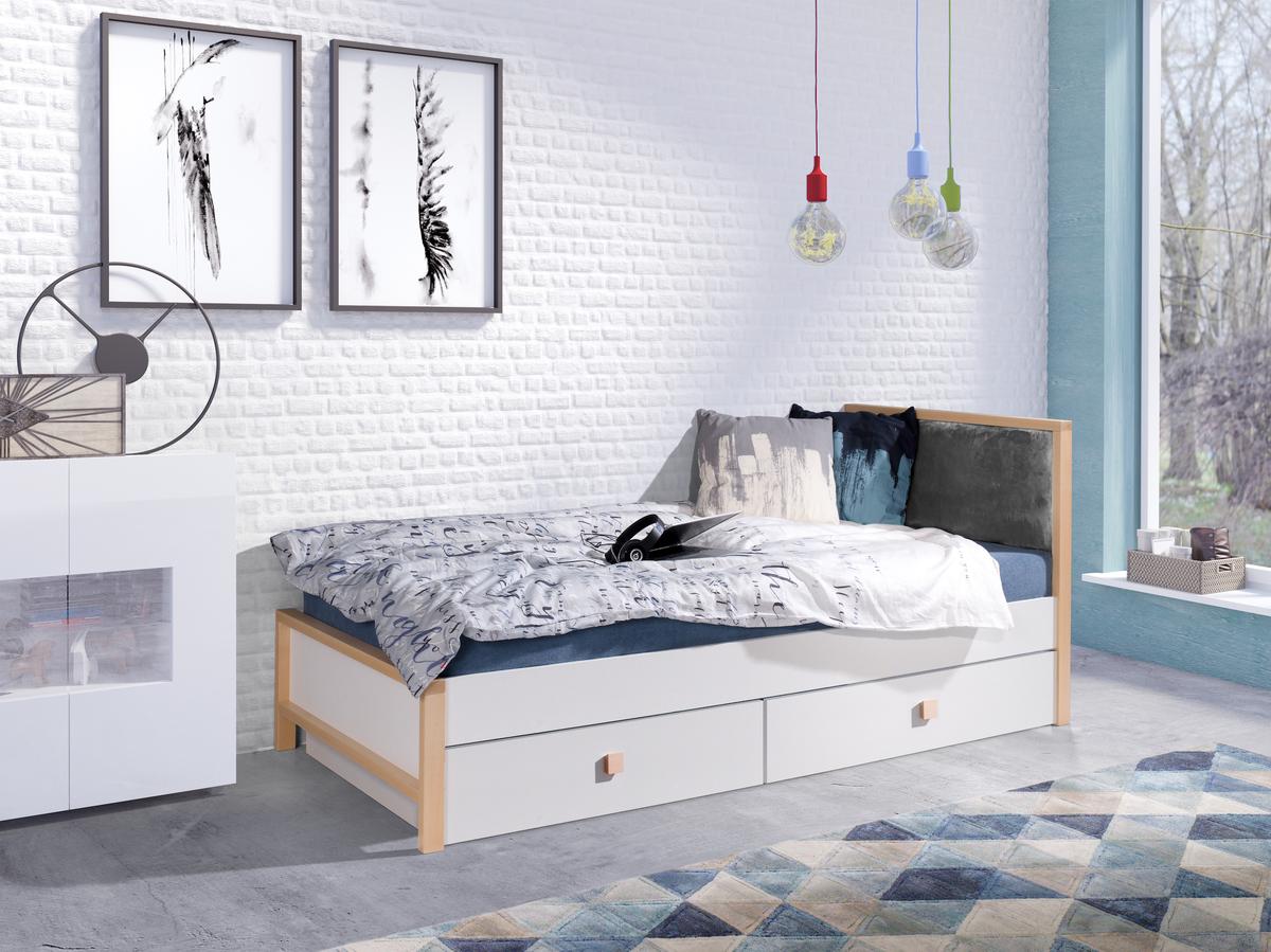 Detská posteľ ZARA 180x80 cm sivá posteľ bez úložného priestoru šedé čalúnenie