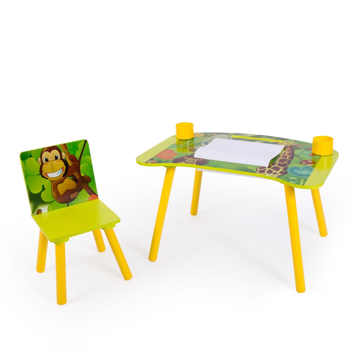 Detský stolík na kreslenie so stoličkou JUNGLE