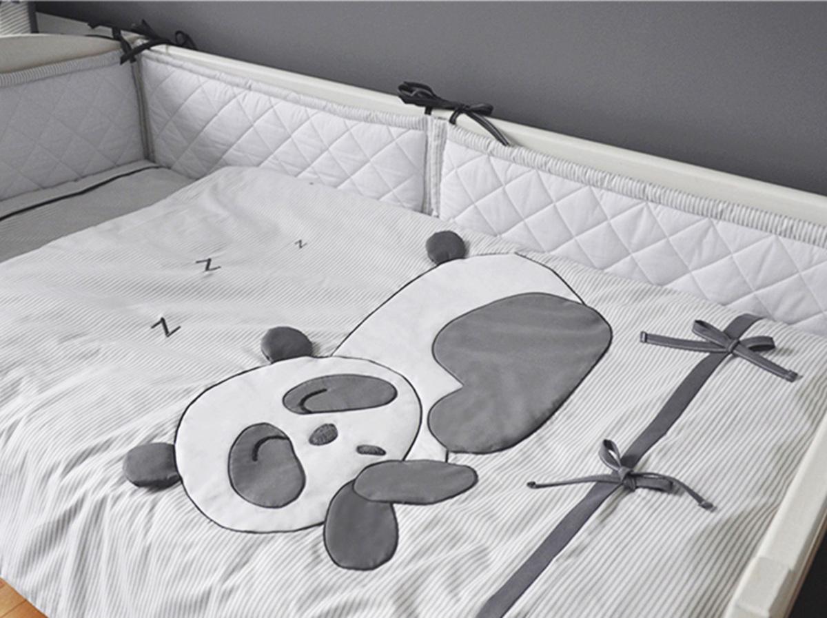 Detské 3-dielne obliečky Panda - sivé kôš na hračky 35x35 cm