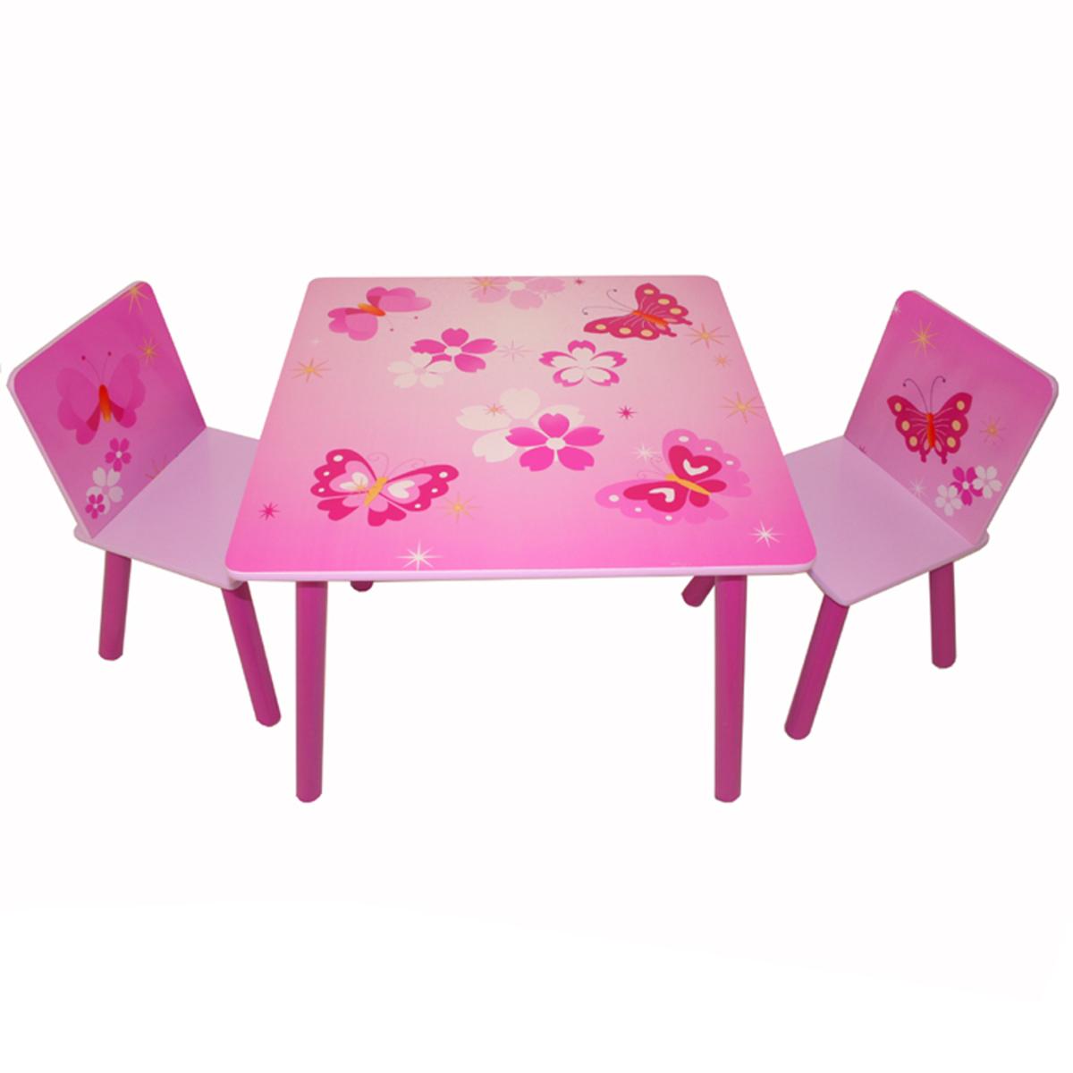 Detský stôl so stoličkami - motýliky