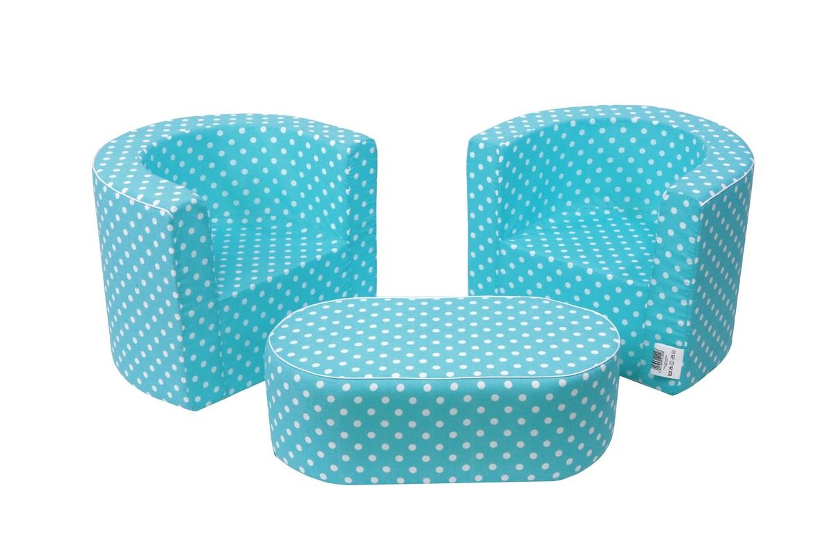 Detský set nábytku - modrý s bodkami