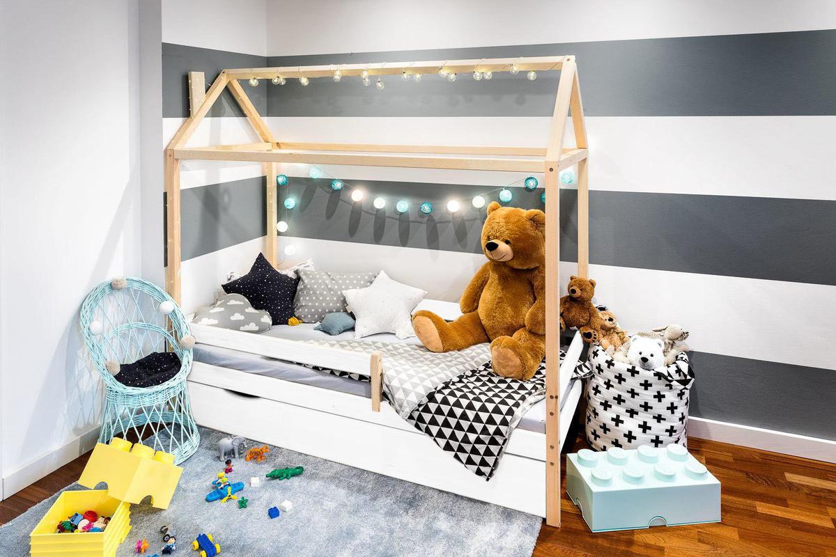 Detská posteľ domček Paul- skandi 180x80 cm posteľ bez úložného priestoru