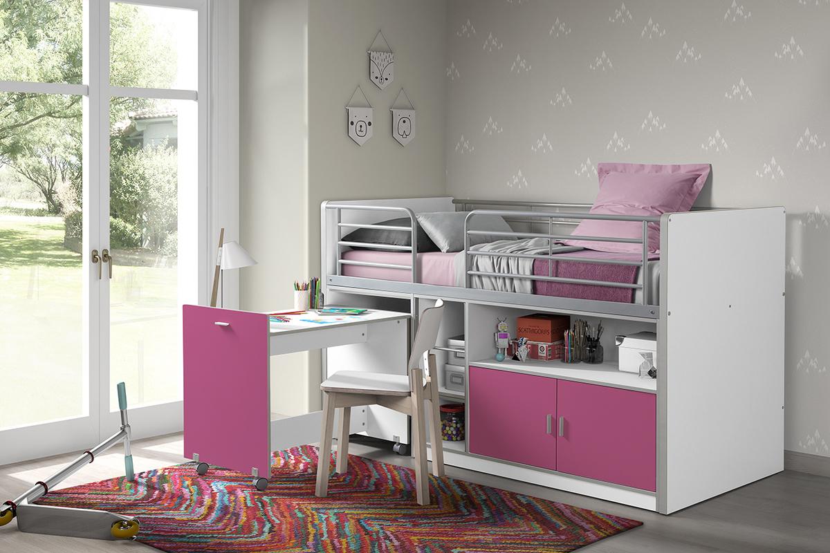 Detská posteľ VIPACK FURNITURE Bonny biela ružová 200x90 cm