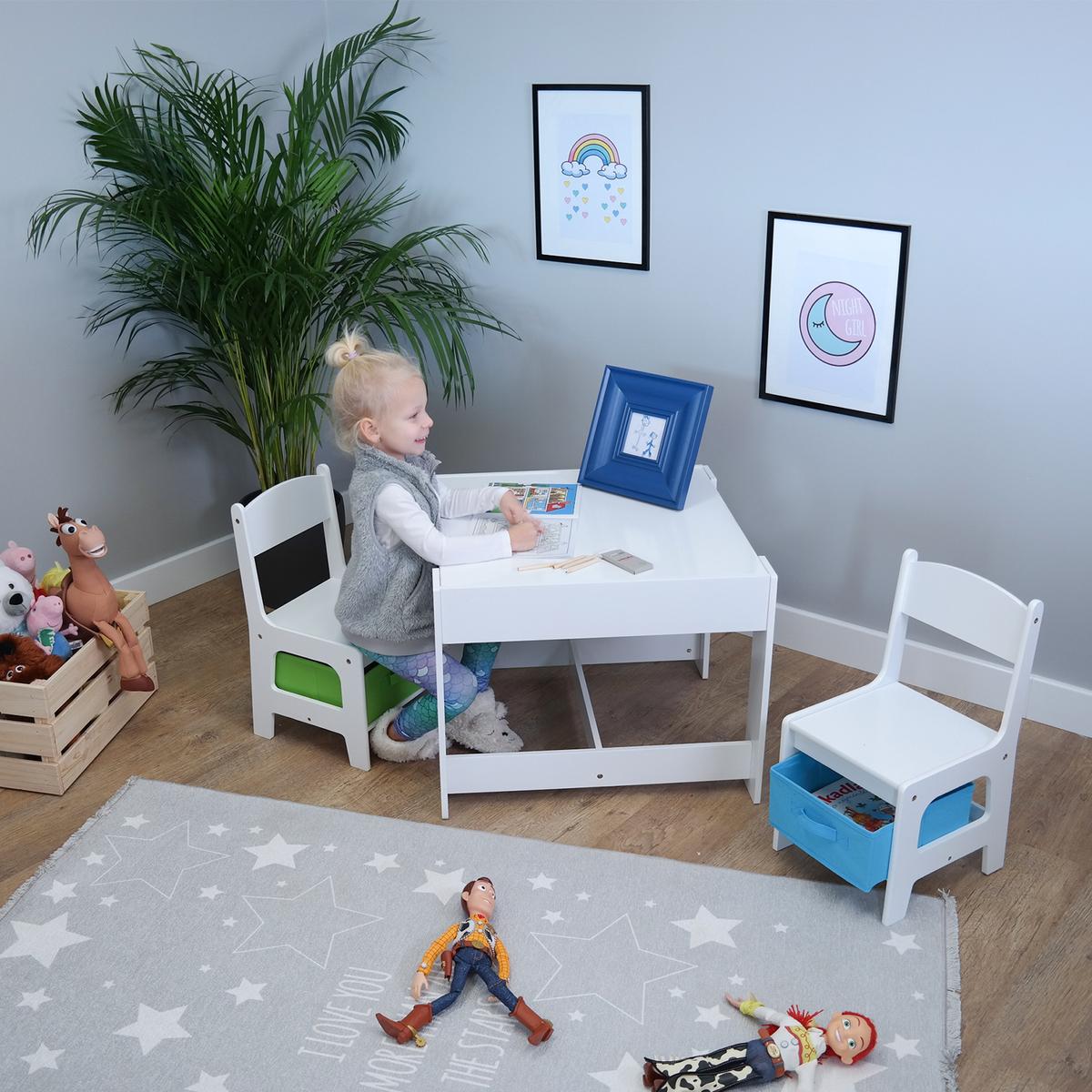 Ourbaby detský stôl so stoličkami s modrým a zeleným boxom