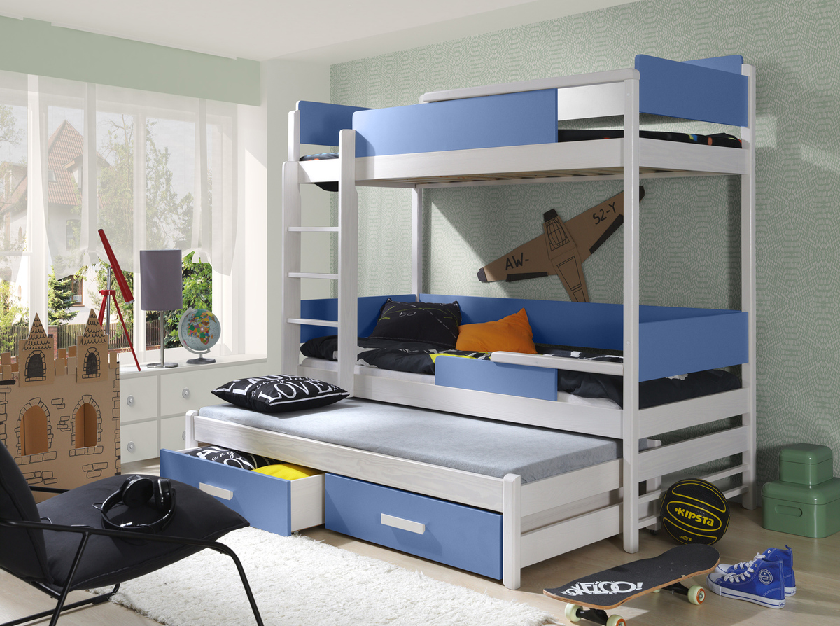 Ourbaby poschodová posteľ s prístelkou Quatro modrá 200x90 cm