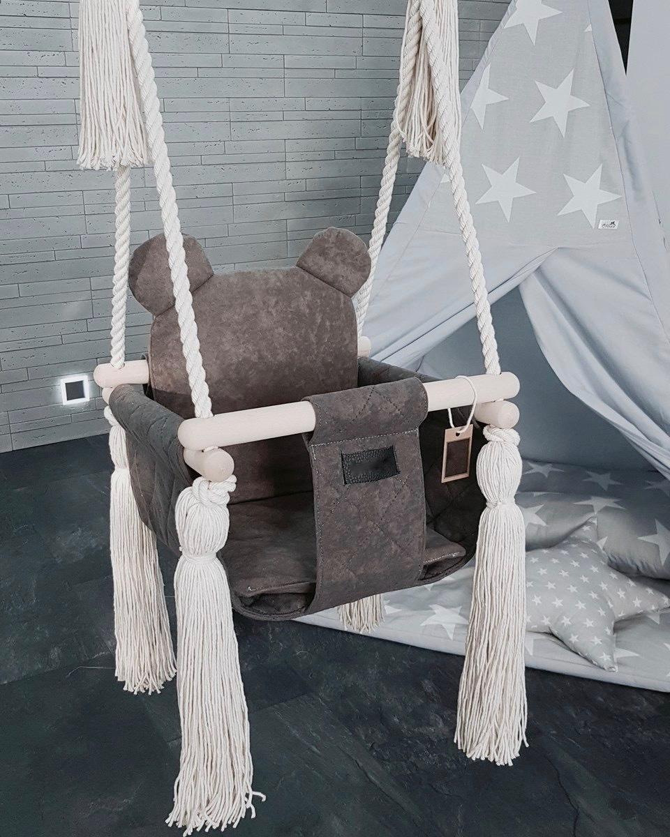 Detská hojdačka do interiéru - hnedo-šedá