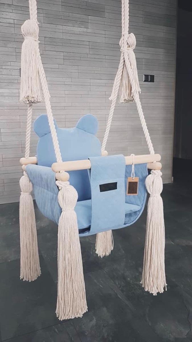 Detská hojdačka do interiéru - modrá