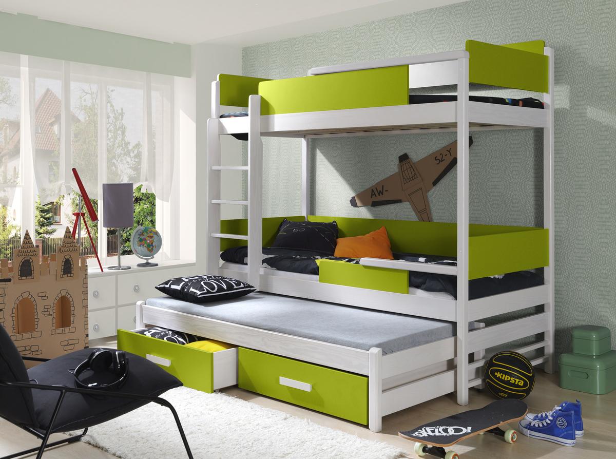 Ourbaby poschodová posteľ s prístelkou Quatro - iguana-biela 200x90 cm