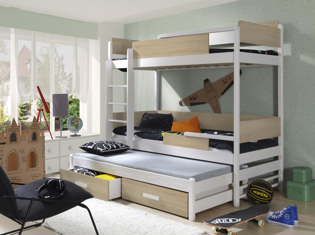 Ourbaby poschodová posteľ s prístelkou Quatro - dub sonoma-biela 180x80 cm