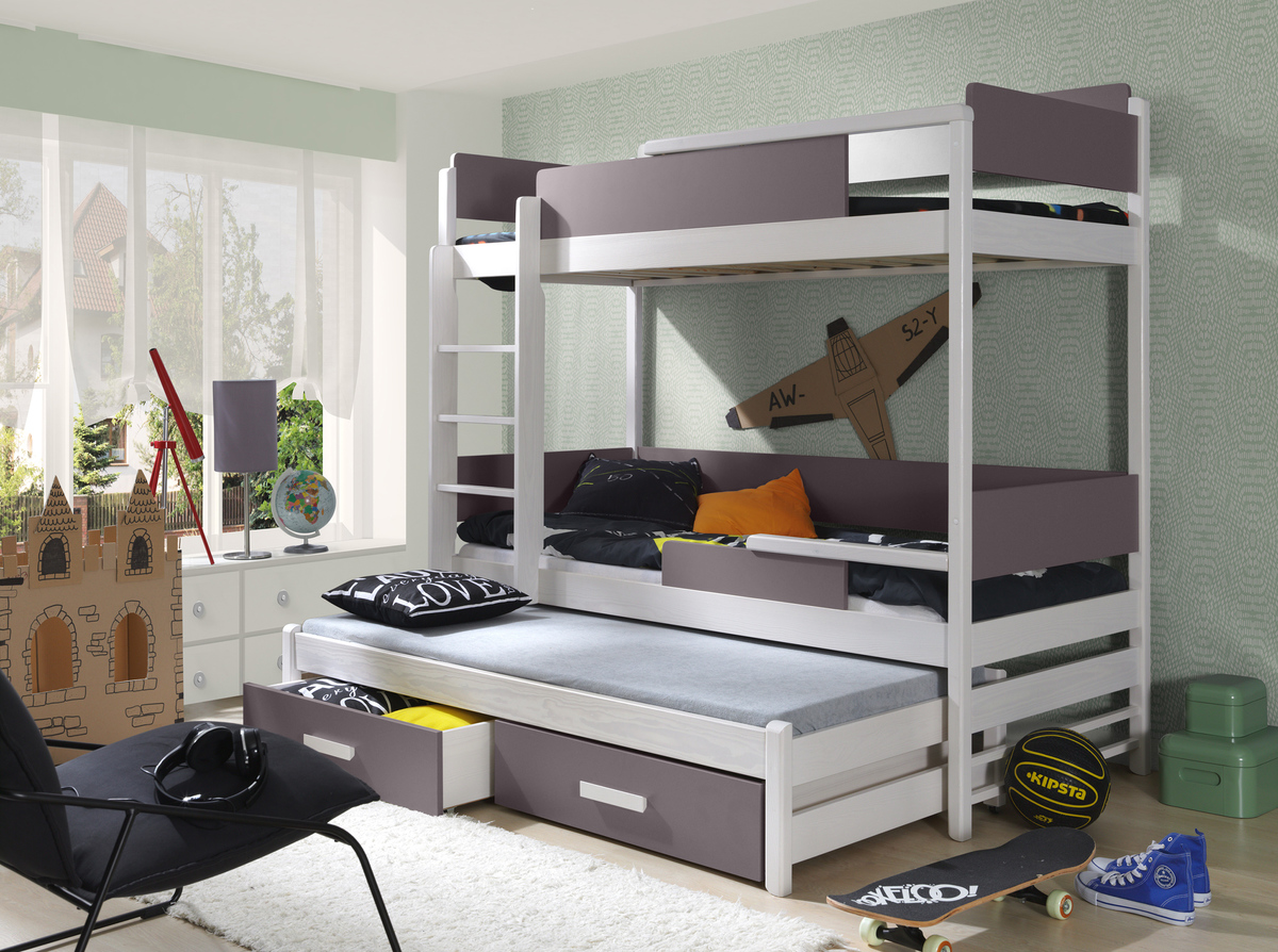 Ourbaby poschodová posteľ s prístelkou Quatro - truffle-biela 200x90 cm