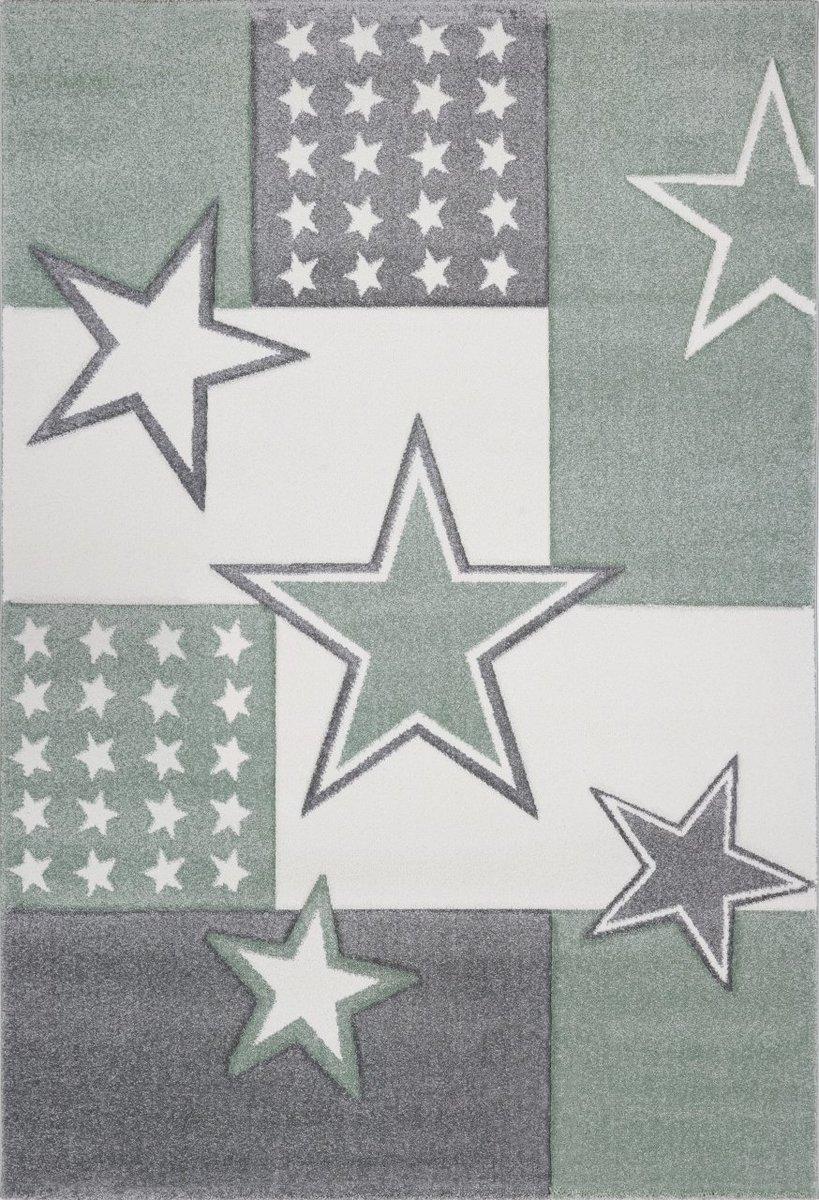 Detský koberec STARFIELD - striebornošedý / zelený 120 x 170 cm