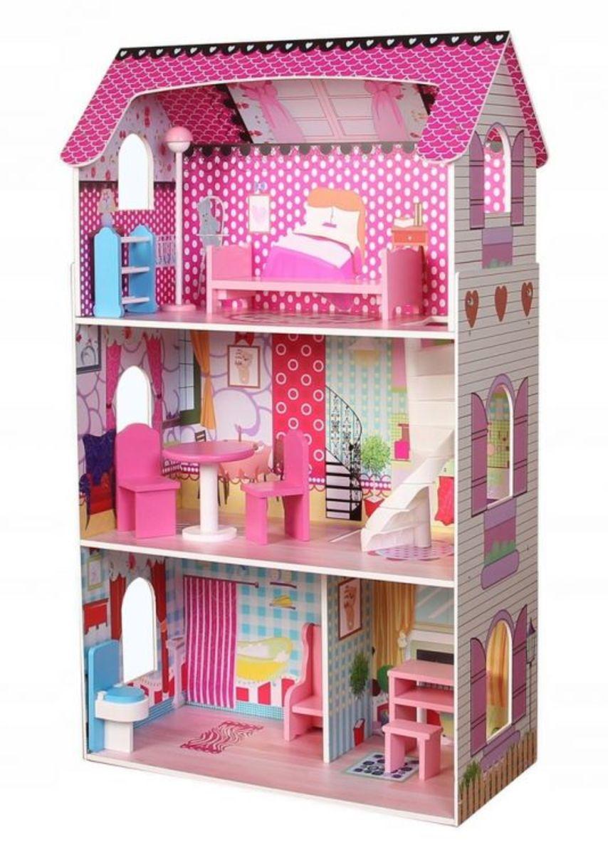 Drevený domček pre bábiky Ružová víla