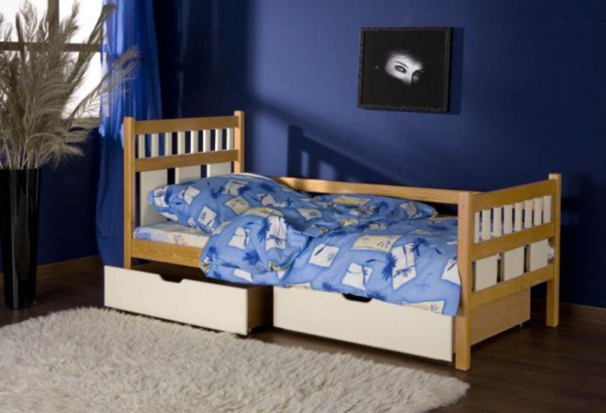 Detská posteľ Luiza - buk-biela 180x80 cm