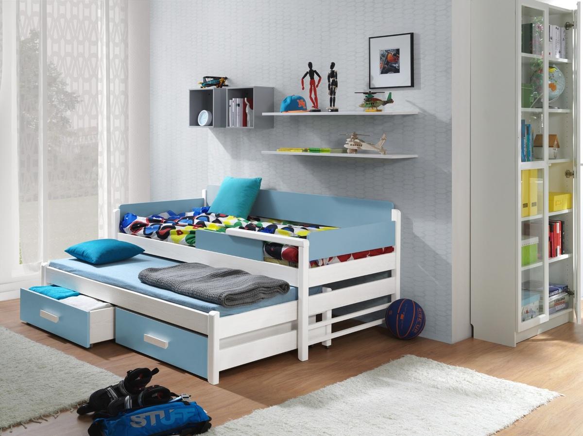 Detská posteľ Dois - biela-modrá 180x80 cm