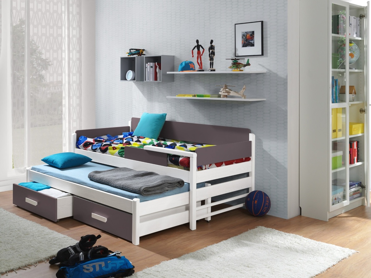 Detská posteľ Dois - biela-truffle 200x90 cm