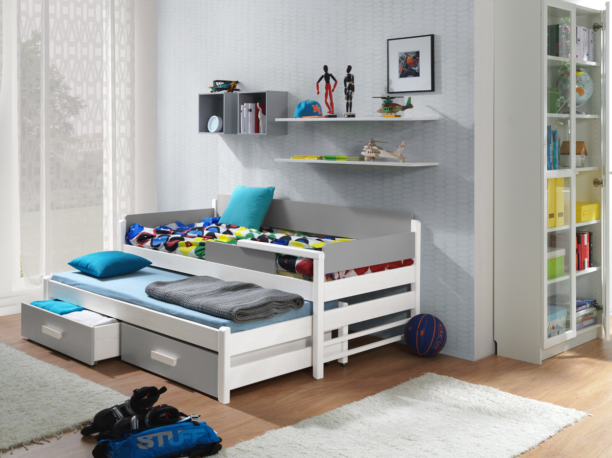 Detská posteľ Dois - biela-šedá 180x80 cm