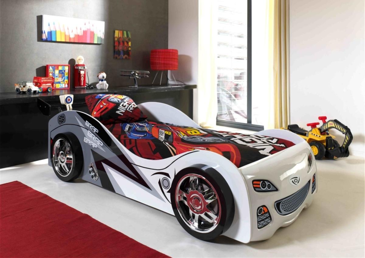 Detská posteľ auto BRAPO BRAPO - biela-šedá Car Brap Brap