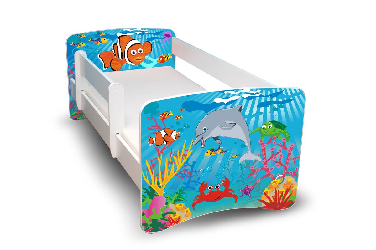 Detská posteľ so zábranou - oceán Ocean 160x70 cm posteľ bez úložného priestoru