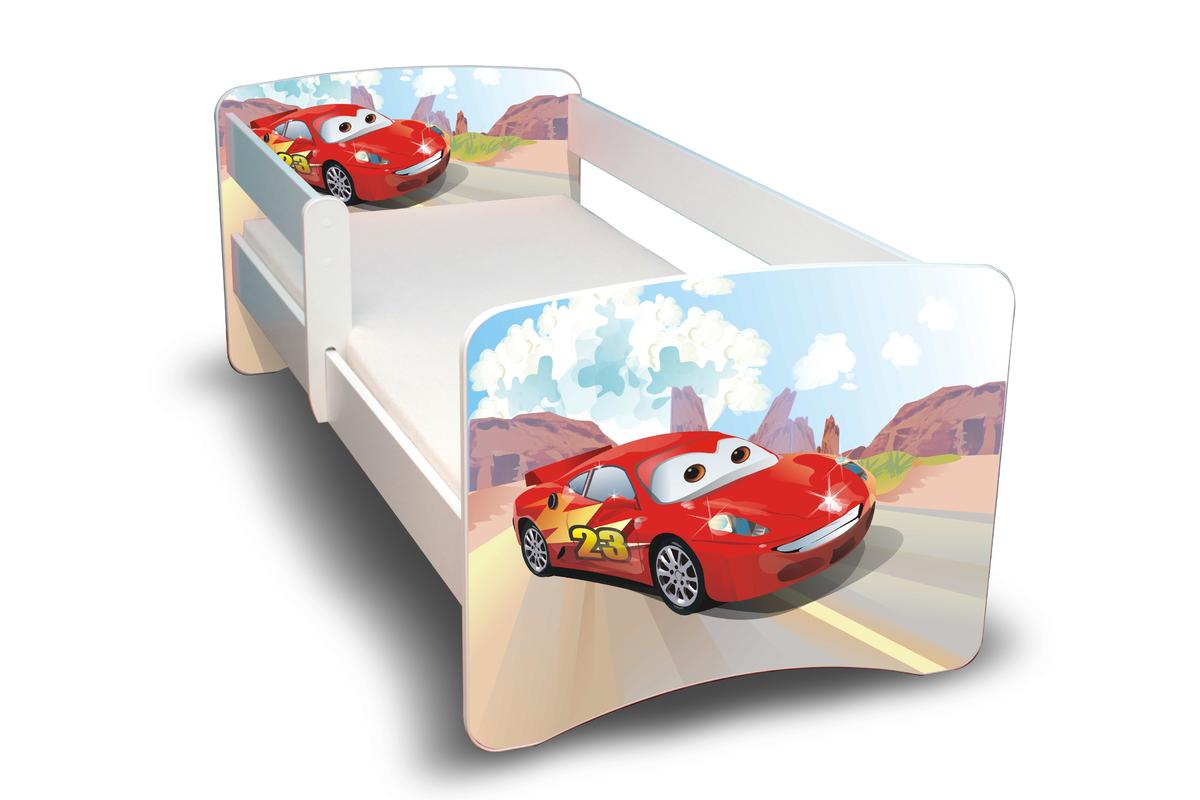 Detská posteľ so zábranou - Racer 160x70 cm posteľ bez úložného priestoru