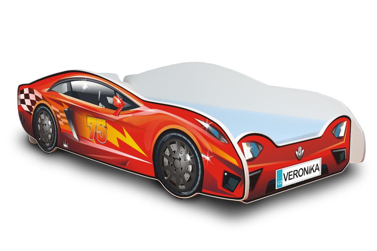 Detská posteľ - pretekárske auto Racing car 180x80 cm červená