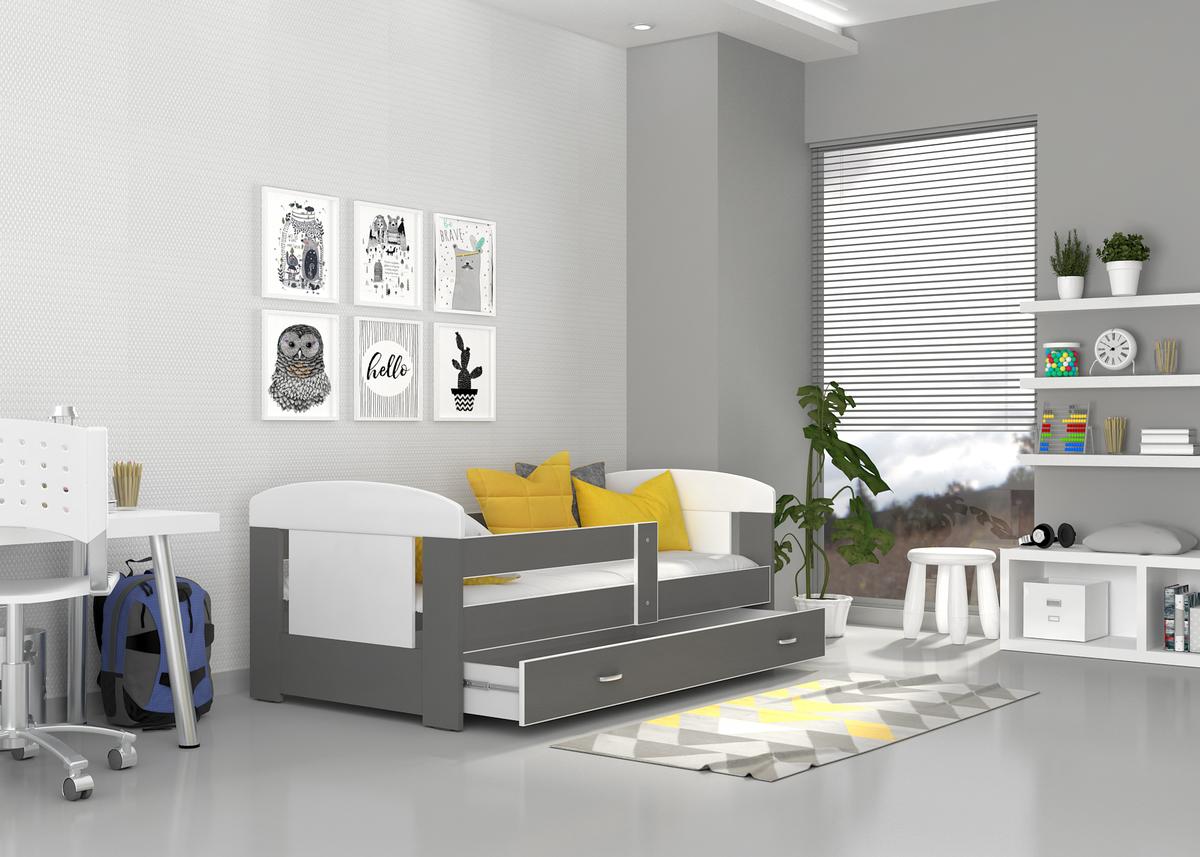 Detská posteľ Filip - bielo-šedá 160x80 cm
