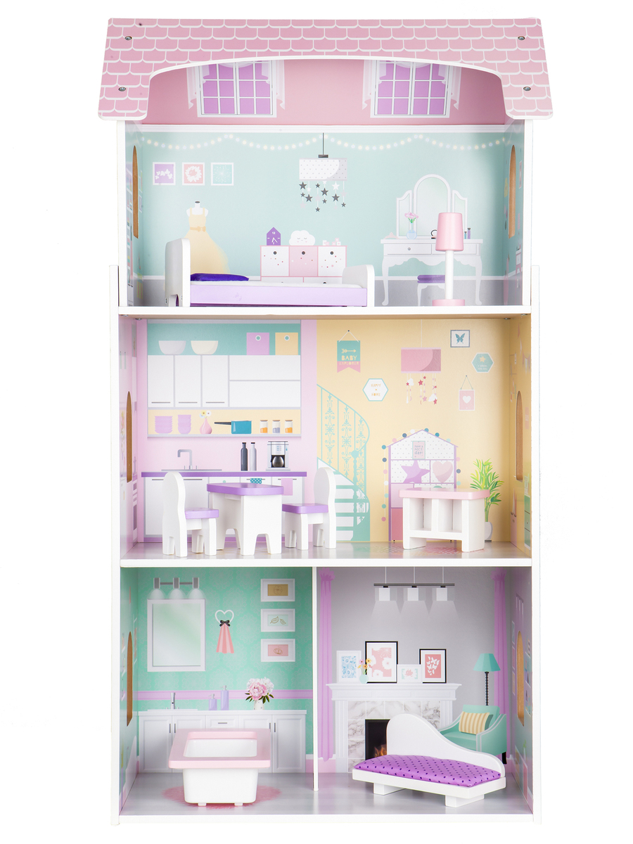 Drevený domček pre bábiky Jahodová rezidencie