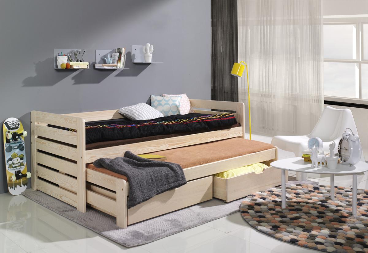 Detská posteľ s prístelkou - Praktik Nu 180x80 cm borovica