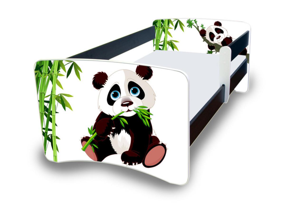 Detská posteľ so zábranou NICO - panda 180x80 cm posteľ + úložný priestor