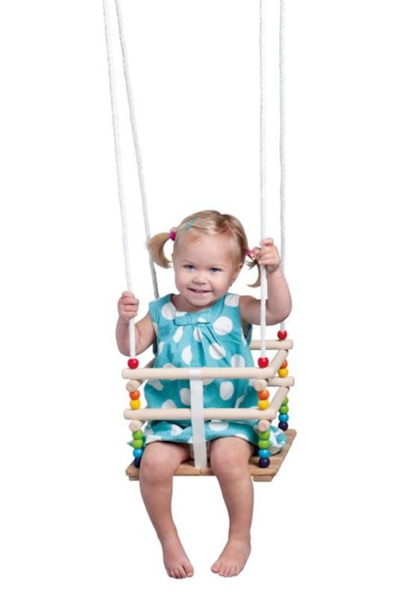 Farebná drevená hojdačka do 30 kg wooden baby swing