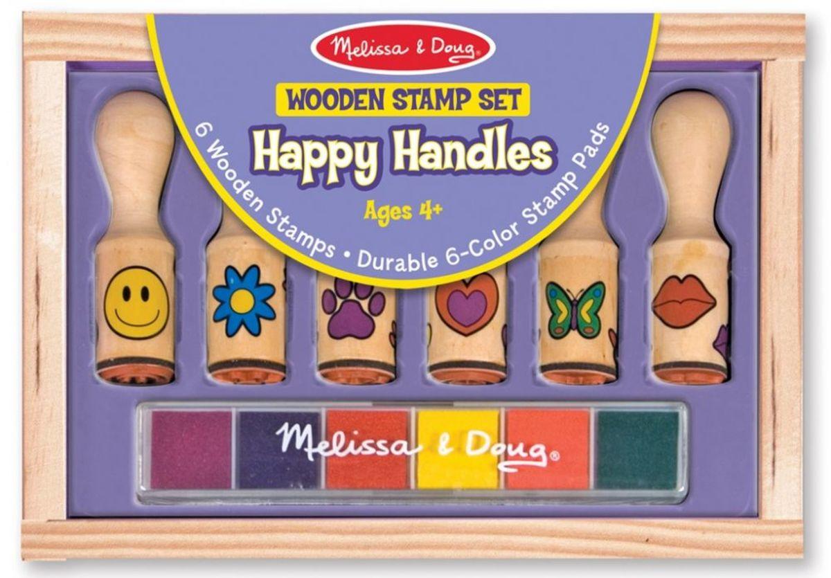 Melissa & Doug sada drevených pečiatok - 6 ks Wooden stamp set