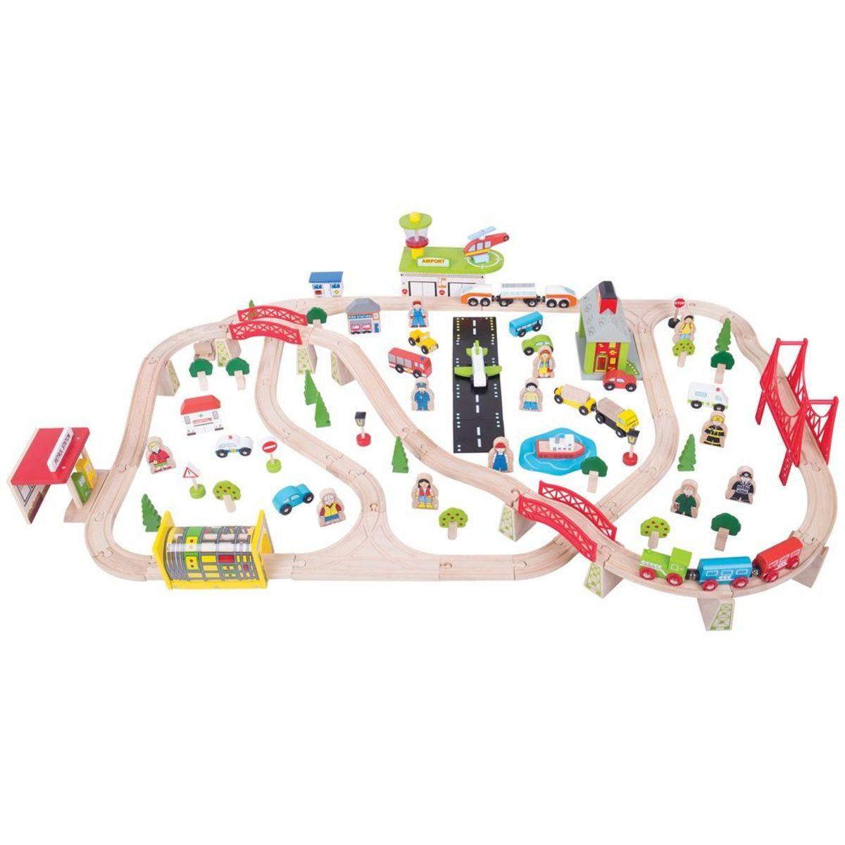 Veľká vlaková dráha s letiskom BJT018 Wooden railway set