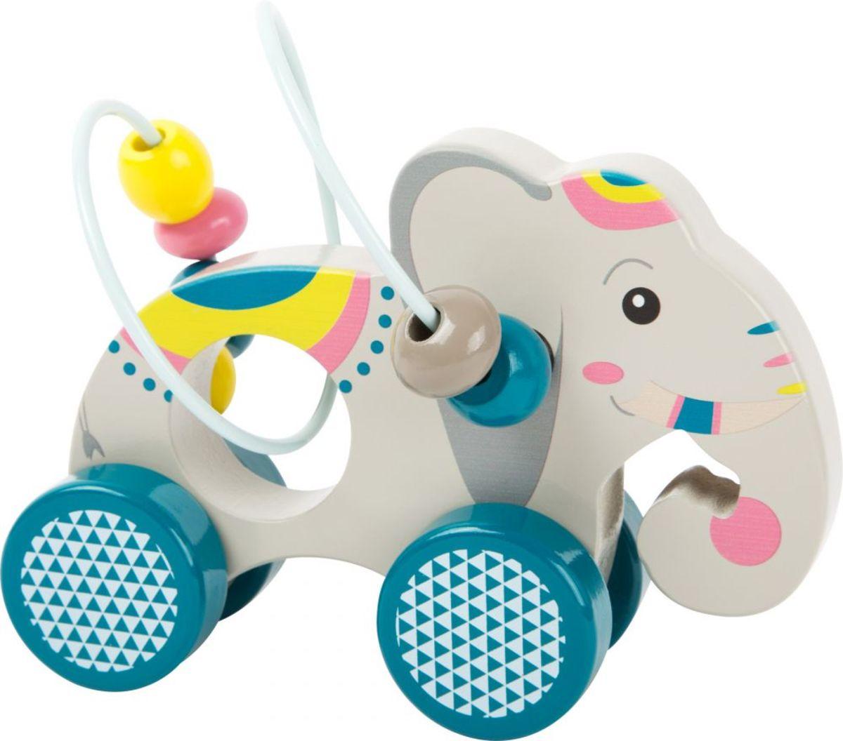 Jazdiaci slon s motorickým labyrintom Elephant bead maze