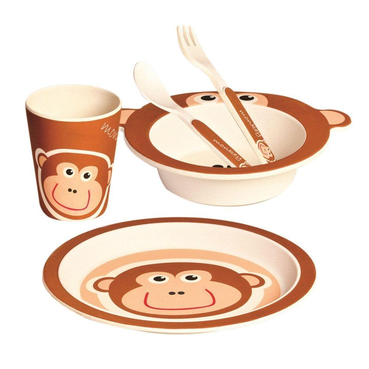 Bambusový jedálenský set Opička bamboo dining