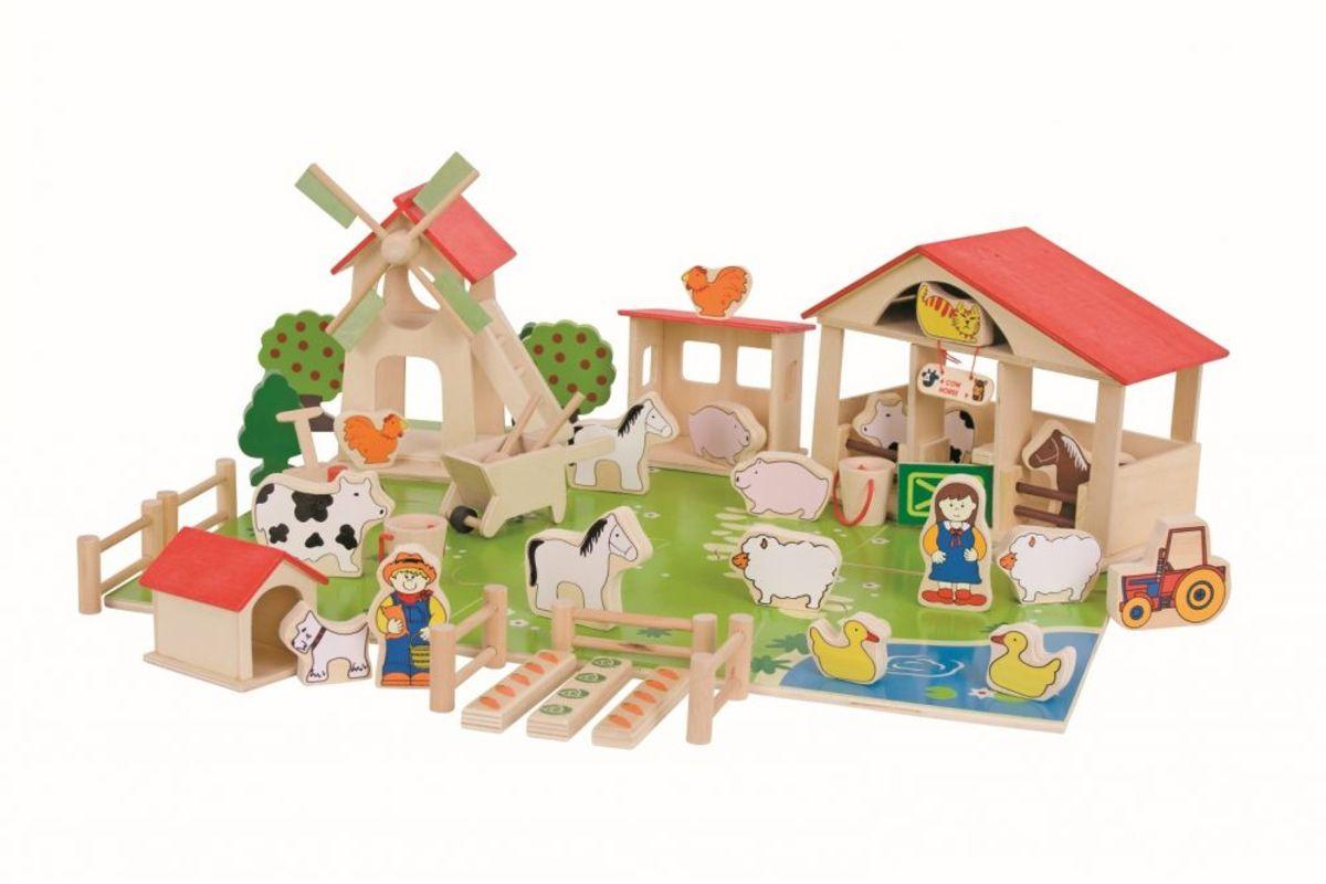 Bigjigs Veľká drevená farma Farm playset
