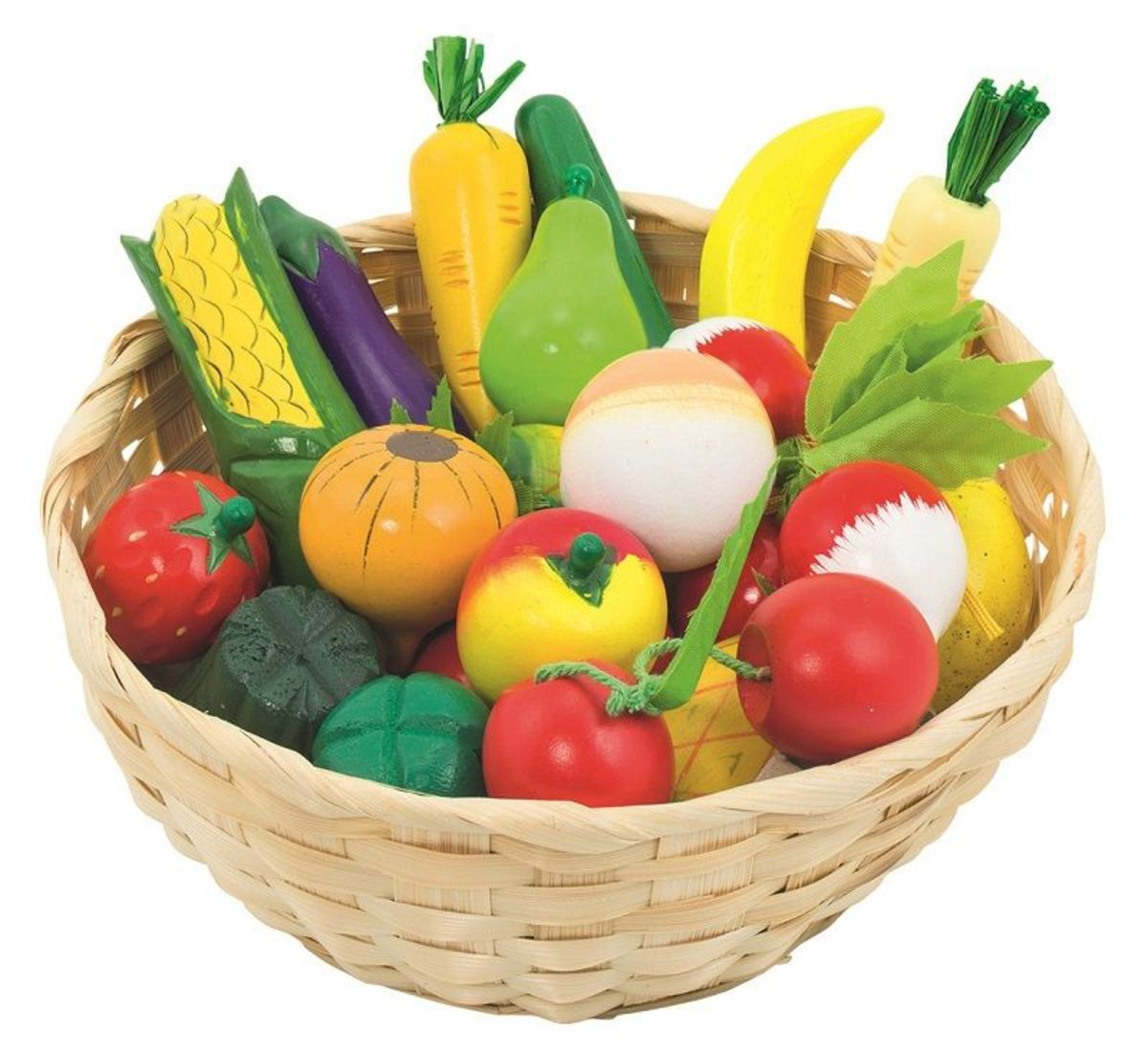 Drevené ovocie a zelenina v košíku 21 ks Vegetable basket